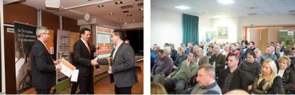 Sipos Géza (Északkelet-Magyarország régióvezetője, KWS) és Berecz Balázs (Dél-Magyarország régióvezetője, KWS) átadják a díjakat Rákóczi Andrásnak (vezérigazgató-helyettes, Tedej Zrt.)