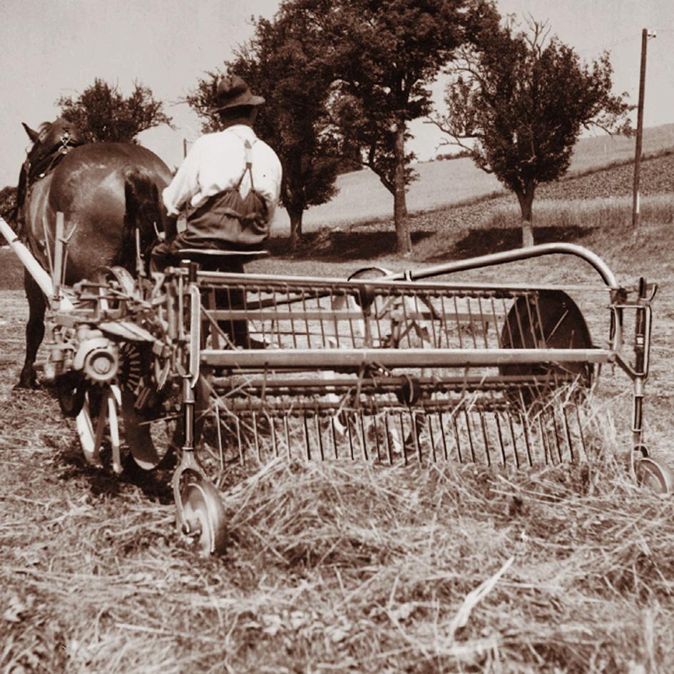A swath rake driven by 1 horsepower